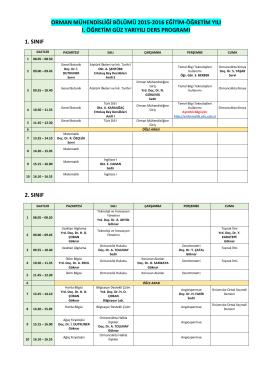 orman mühendisliği bölümü, ı. öğretim, 2015