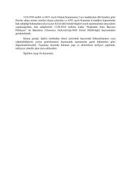 31/8/1956 tarihli ve 6831 sayılı Orman Kanununun 2 nci maddesinin