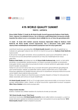 4 th WORLD QUALITY SUMMIT