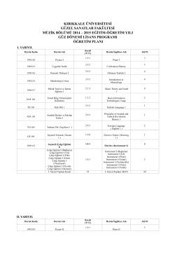 2014-2015 MÜZİK BÖLÜMÜ ÖĞRETİM PLANI