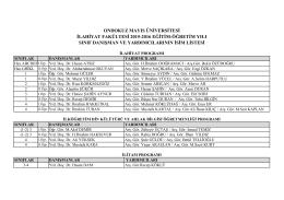 2015-16 Danışman Listesi