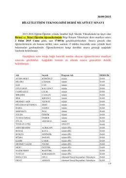 30/09/2015 bilgi iletişim teknolojisi dersi muafiyet sınavı