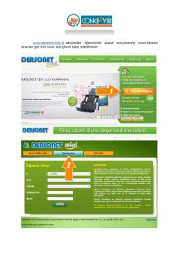 www.dersonet.com.tr adresinden öğrencinizle alakalı quiz,deneme