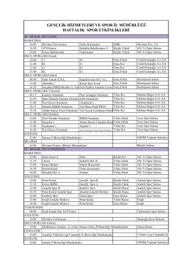 gençlik hizmetleri ve spor il müdürlüğü haftalık spor etkinlikleri