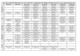 2015-2016 Tarih Güz Dönemi I. Öğretim Haftalık Ders Programı (1)