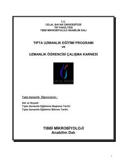 Tibbi Mikrobiyoloji AD. - Tıp Fakültesi