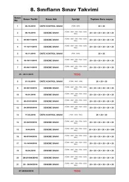 8. Sınıf Sınav Takvimi