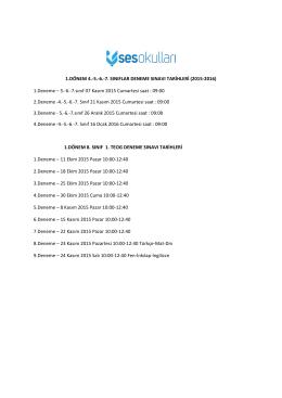 1.Deneme – 5.-6.-7.sınıf 07 Kasım 2015 Cumartesi saat