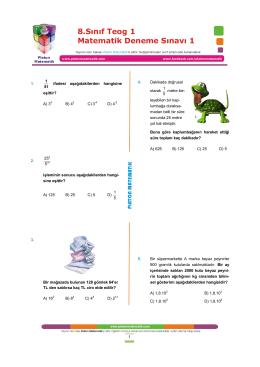 8.Sınıf Teog 1 Matematik Deneme Sınavı 1