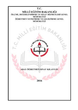 T.C. MİLLÎ EĞİTİM BAKANLIĞI 2016
