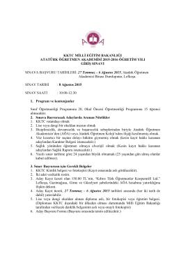 atatürk öğretmen akademisi 2015-2016 öğretim yılı giriş sınavı