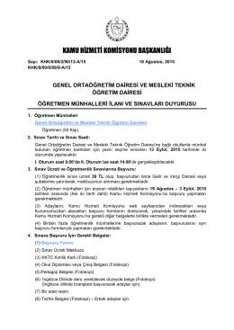 Kamu Hizmeti Komisyonu Öğretmen Sınav Duyurusu 2015