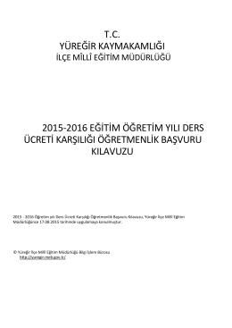 tc yüreğir kaymakamlığı 2015-2016 eğitim öğretim yılı ders ücreti