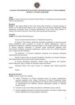 Ankara Üniversitesi İç Kontrol Sistemi İzleme ve Yönlendirme Kurulu