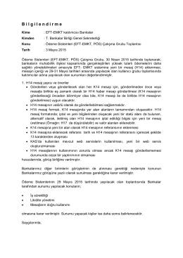 30 Nisan 2015 Ödeme Sistemleri Çalışma