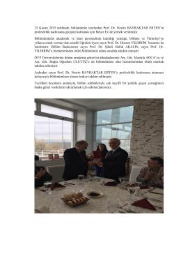 25 Kasım 2015 tarihinde, bölümümüz tarafından Prof. Dr. Nesrin