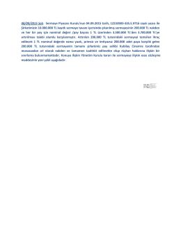 08/09/2015 Salı: Sermaye Piyasası Kurulu`nun 04.09.2015 tarih