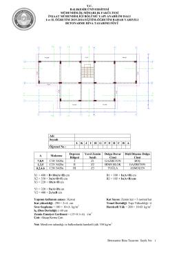 2014-2015 Bahar Dönemi Betonarme Bina Tasarımı Dersi Proje Föyü