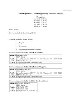 Bilgi Notu-3- İkamet Kayıtlarının (Anmeldung) yapılacagı Meldestelle