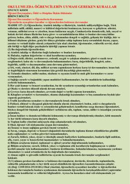 Öğrencilerin Uyması Gereken Kurallar
