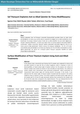 Saf Titanyum İmplantın Asit ve Alkali İşlemler ile Yüzey