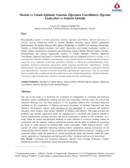 Mesleki ve Teknik Eğitimde Yönetim, Öğretmen Yeterlilikleri