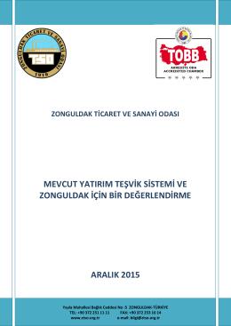 Mevcut Yatırım Teşvik Sistemi ve Zonguldak İçin Bir Değerlendirme