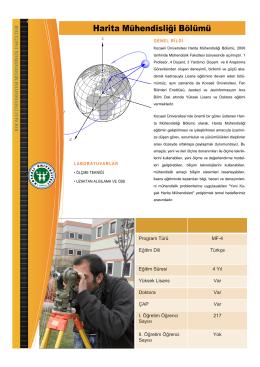 Harita Mühendisliği Bölümü - Mühendislik Fakültesi