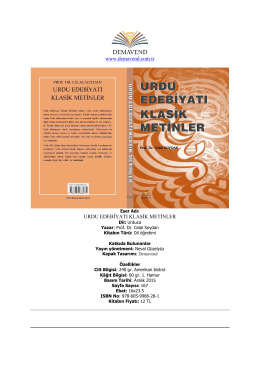 URDU EDEBİYATI KLASİK METİNLER, Prof. Dr. Celal Soydan, ISBN