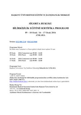 Sigorta Hukuku ve Bilirkişilik Sertifika Programı (Ocak 2016