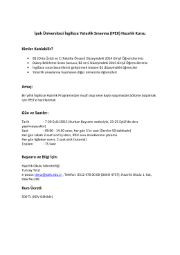 İpek Üniversitesi İngilizce Yeterlik Sınavına (IPEX