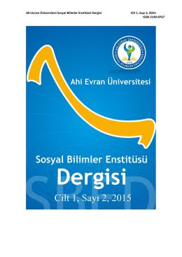 Ahi Evran Üniversitesi Sosyal Bilimler Enstitüsü Dergisi Cilt 1, Sayı 2
