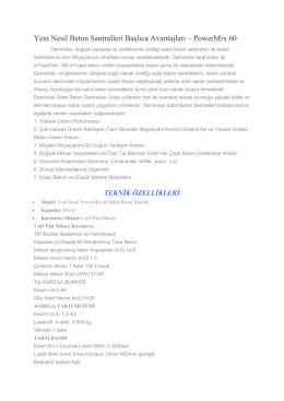 Yeni Nesil PowerMix 60 Beton Santrali