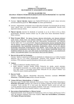 tc kırıkkale üniversitesi dış ilişkiler ve ab koordinasyon birimi 2015