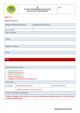 Bulgu Paylaşım Formu