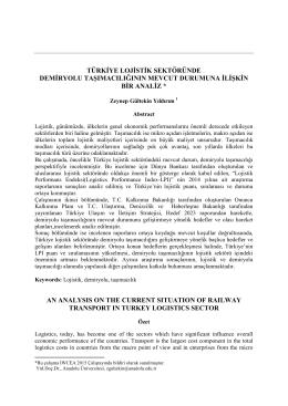 Türkiye Lojistik Sektöründe Demiryolu Taşımacılığının Mevcut