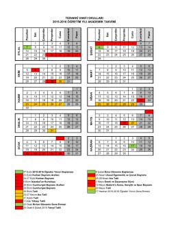 terakki vakfı okulları 2015-2016 öğretim yılı akademik takvimi