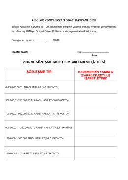 2016 yılı sözleşme talep formları kademe çizelgesi sözleşme tipi