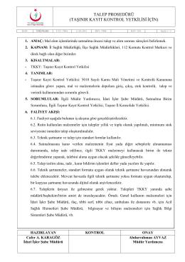 İMİ.PR.001 Talep Prosedürü - Bursa İl Sağlık Müdürlüğü
