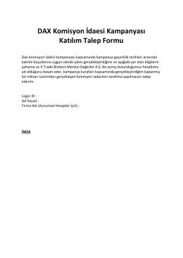 DAX Komisyon İdaesi Kampanyası Katılım Talep Formu