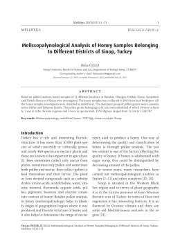 Melissopalynological Analysis of Honey Samples Belonging to