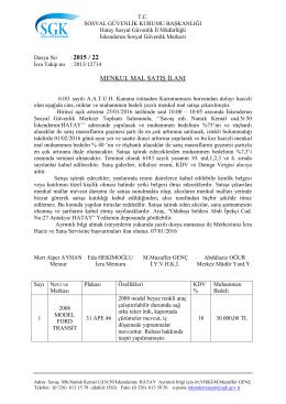menkul mal satış ilanı - Hatay Sosyal Güvenlik İl Müdürlüğü