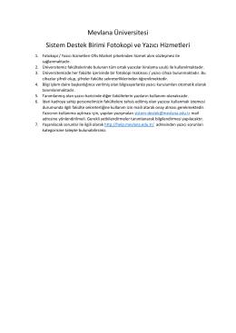 Mevlana Üniversitesi Sistem Destek Birimi Fotokopi ve Yazıcı