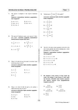 DENKLEM KURMA PROBLEMLERİ Test -1