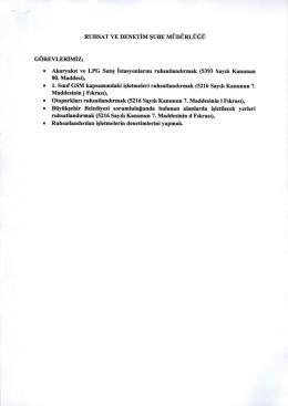 • Akaryakit ve LPG Satis Istasyonlarini ruhsatlandirmak (5393 Sayili