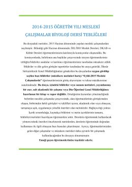 2014-2015 öğretim yılı mesleki çalışmalar biyoloji dersi tebliğleri