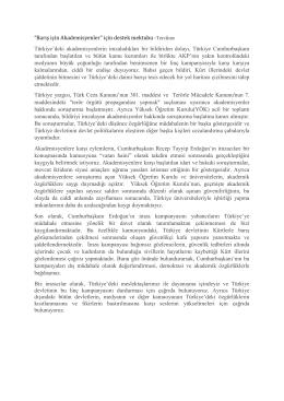 """""""Barış için Akademisyenler"""" için destek mektubu -Tercüme"""