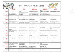 2015 aralık ayı yemek listesi