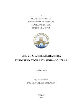 vııı. ve x. asırlar arasında türkistan coğrafyasında oğuzlar
