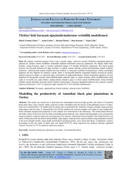 Türkiye`deki karaçam ağaçlandırmalarının verimlilik modellemesi